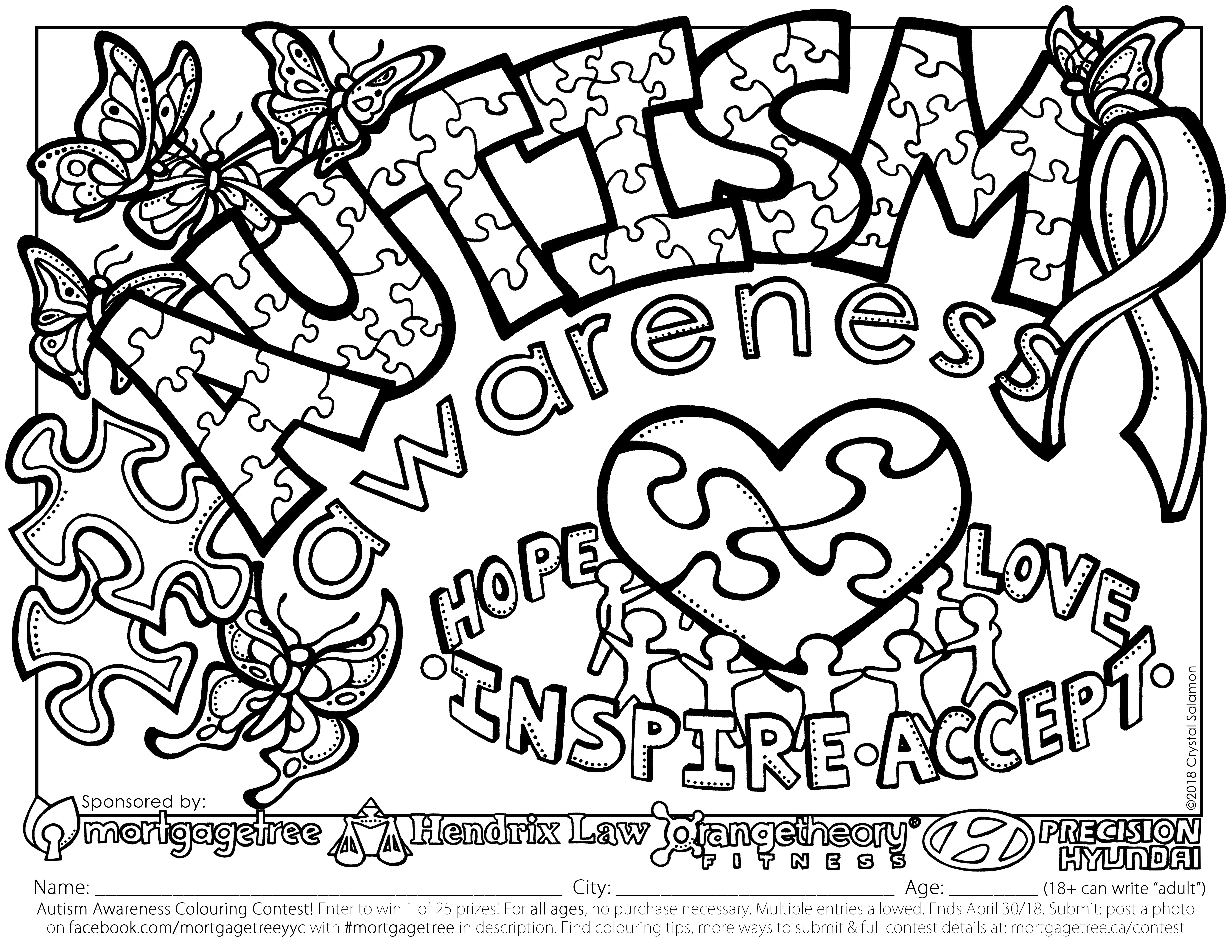 Autism awareness colouring contest sponsored by Hendrix Law and Mortgage Tree in Calgary